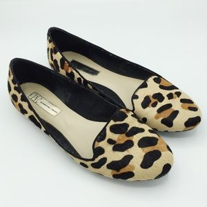 Inc Leopard Brown Gale Smoking Flats Loafers 8